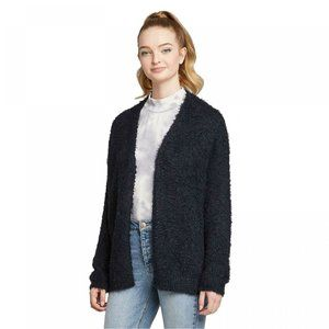 Wild Fable LS Open-Front Fuzzy Cardigan Dark Blue